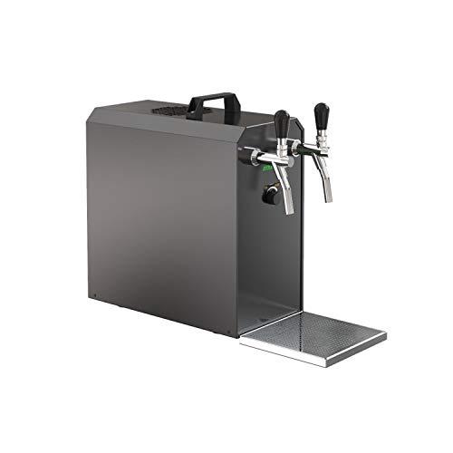 ich-zapfe Sistema di erogazione Stream 50K con Pompa ad Aria, Cassa della Birra, raffreddatore a Flusso Continuo, Dry Cooler a 2 Linee, Fino a 55 Litri/h - Black Edition
