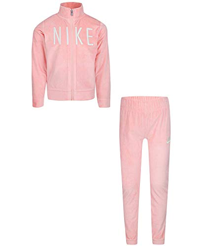 Nike Kids Baby Girl's Velour Zip Jacket/Pants Track Set (Toddler) Bleached Coral 2T Toddler