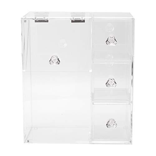 Socobeta Boîte à cotons-tiges non toxique et anti-poussière en acrylique transparent pour ranger les cotons-tiges, les outils de maquillage