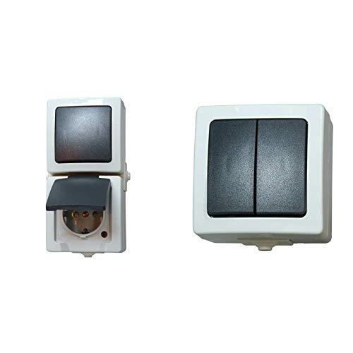 Kopp Nautic Steckdose und Schalter Kombination für Feuchtraum, IP44, 250V (16A), Aufputz Schutzkontakt-Steckdose, grau,  & Nautic Serienschalter mit 2 Wippen, Aufputz, 250V (10A), IP44, grau