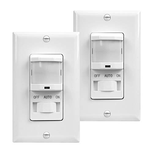 TOPGREENER In-Wall PIR Motion Sensor Light Switch, Occupancy Sensor Switch, On/Off Override, 4A, 500W, Single Pole, Neutral Wire Required, TSOS5-W, White, 2 Pack