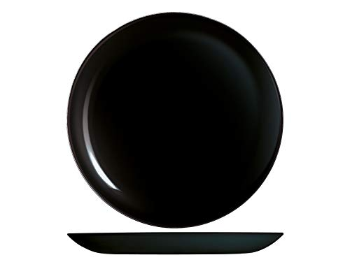 H&H Premiere - Juego de 6 platos llanos, cristal, negro, 27 cm