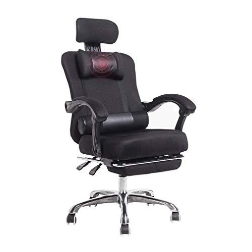 WSDSX Gaming Office Chair,Drehstuhl Drehstuhl Gaming Bürostuhl Computer Schreibtischstuhl Hohe Rückenlehne mit ausziehbarer Fußstütze Kopfstütze Lendenkissen, Schwarz