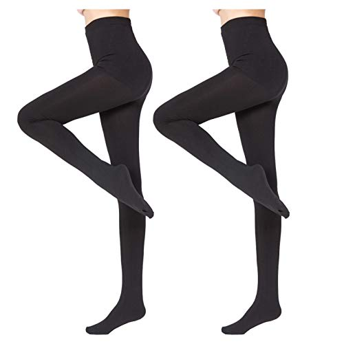 2 Pairs Women Winter Thick Warm Fleece Lined Thermal Stretchy Pantyhose Tights Black-S/M