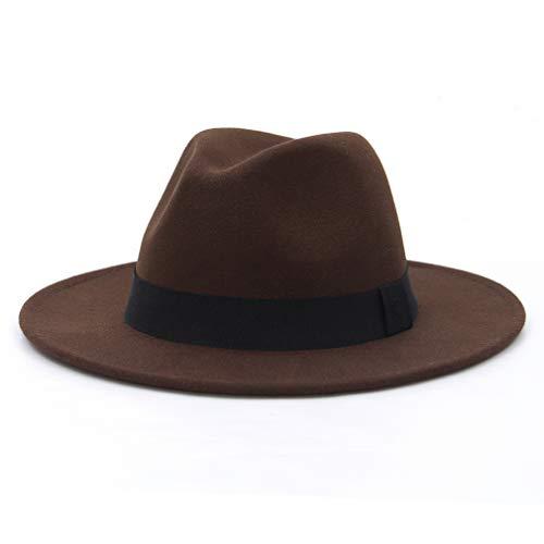 GEMVIE Herren Fedora Filzhut Damen Outdoor Gentleman Jazz Panamahut Kaffee Umfang 56-58cm