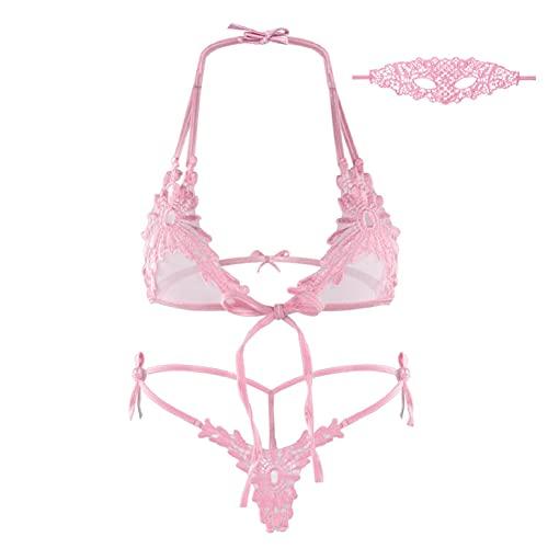 heekpek Conjunto de Lencería para Mujeres Adjustable Encaje Bralette Sin Aros Conjuntos Ropa Interior Mujer Bra Sexy Sujetador y Bragas