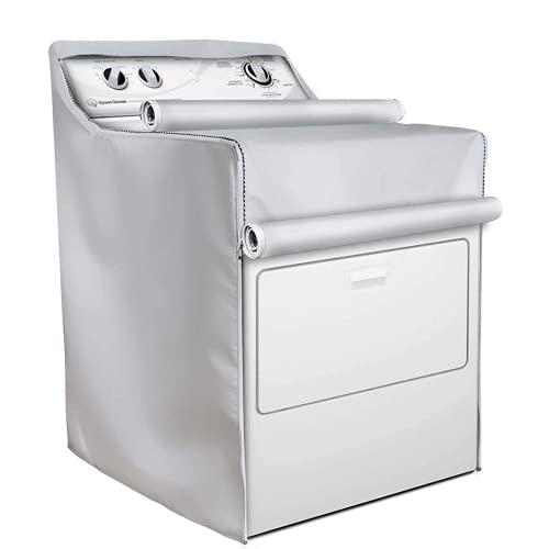 MarHermoso Cubiertas para secadora de lavadora, impermeable, protección contra el polvo, a prueba de sol, para lavadoras de carga superior o frontal, cubierta exterior (gris)