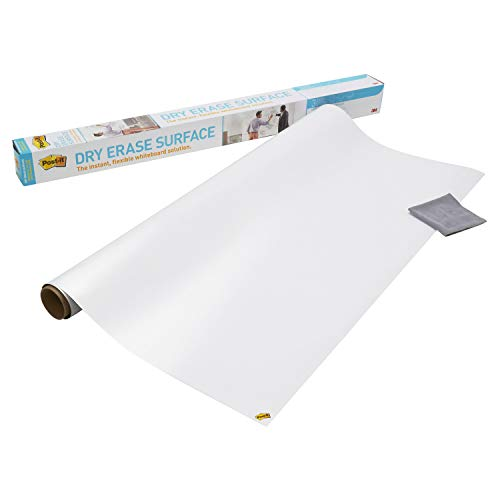 Post-it Dry Erase Whiteboard Film Surface for Walls, Doors, Tables, Chalkboards, Whiteboards, and More, Removable, Stain-Proof, Easy Installation, 4 ft x 3 ft Roll (DEF4X3A)