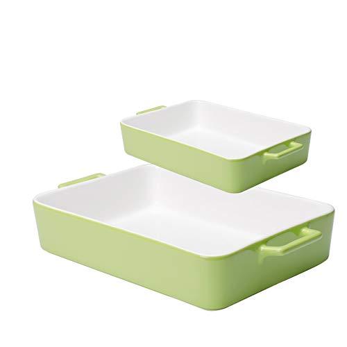 Xiteliy Ceramic Bakeware Set Baking Dish Lasagna Pans Casserole Dish Square Brownie Pan with Double Handle (2, Green)
