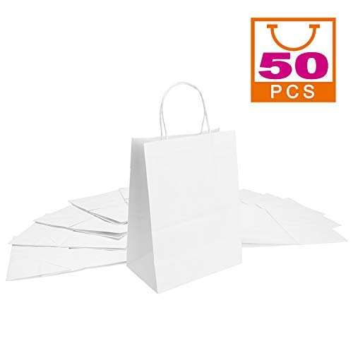 """White Kraft Paper Bags 5""""x3""""x8""""?Mesha 50pcs Gift Bags with Handle?Small Paper Shopping Bags?Paper Party Favor Bags?Retail Paper Bags Bulk"""