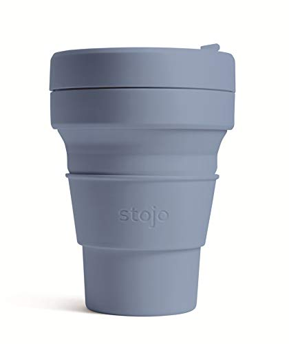 Stojo On The Go Coffee Cup | Pocket Size Collapsible Silicone Travel Cup – Steel Blue, 12oz / 355ml