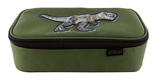 Stylex 44151 - Grüne Etuibox mit 3D Dino-Applikation, ca. 22,5 x 12 x 7 cm groß, Federmappe mit geräumigem Hauptfach mit Reißverschluss, Klappe mit Stiftschlaufen und Fach für Geodreieck und Lineal