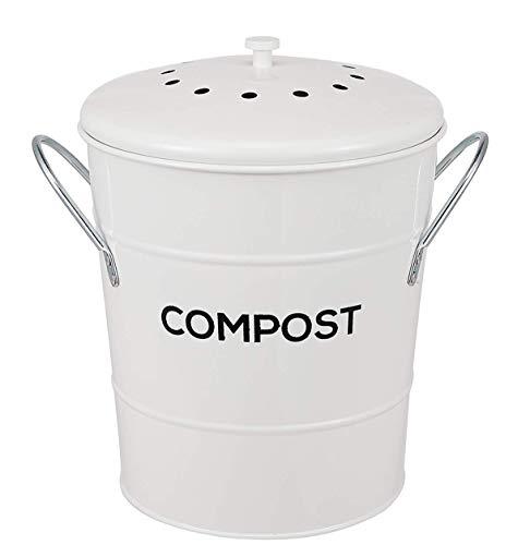ayacatz Composteur de cuisine 2 en 1 pour intérieur - Idéal pour les restes de nourriture - Seau en plastique amovible avec poignées - Beige - Filtre à charbon inclus - Blanc