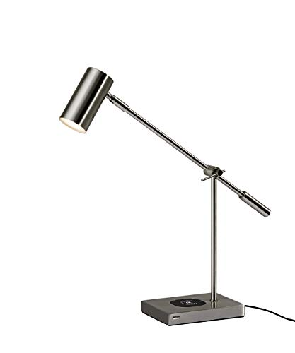 Adesso 4217-22 ColletteLED Desk Lamp WirelessCharging, 7W LED, 5W QI,USB Port, Indoor Lighting Lamps , Silver