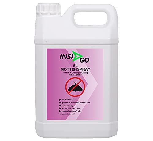 INSI GO Anti-Mottenspray - Mottenabwehr gegen Motten und deren Larven - geruchlose Motten Bekämpfung - auf Wasserbasis - 5 Liter