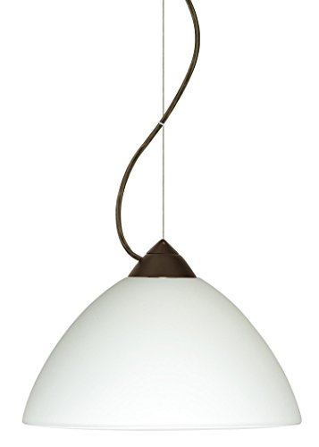 Besa Lighting 1KX-420107-BR 1X75W A19 Tessa Pendant with White Glass, Bronze Finish