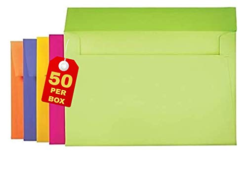 """1InTheOffice A9 Greeting Card Envelopes 5.75 x 8.75, Envelopes for Invitation, Assorted Colored Envelopes, 5 3/4"""" x 8 3/4"""", 50/Box"""