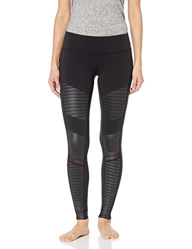 Alo Yoga Damen Moto Leggings, Schwarz/Schwarz Glänzend, Klein