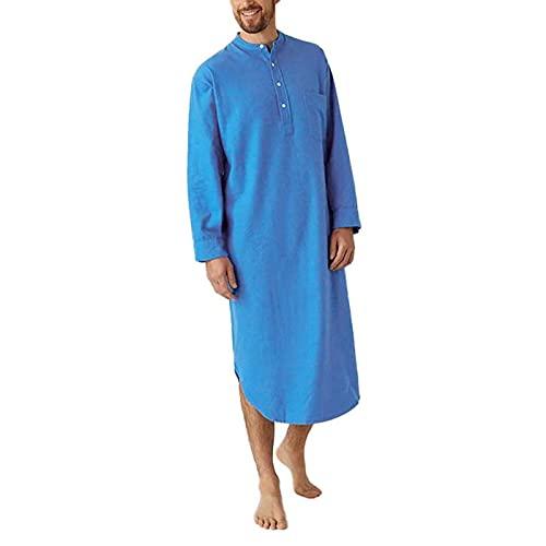 Pijama De Algodón De Túnica para Hombre Botón De Manga Larga con Cuello En O Retro Camisa De Dormir Tamaño De Ropa M -XXXL,Azul,XL