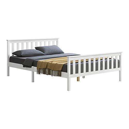 [en.casa] Holzbett mit hohem Kopfteil und Lattenrost 160x200 cm Doppelbett Ehebett Bettgestell Kiefernholz Weiß