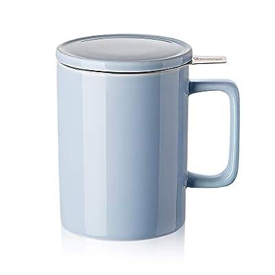 Sweese 205.110 Porcelain Tea Mug with Infuser and Lid - 14 OZ, Lilac