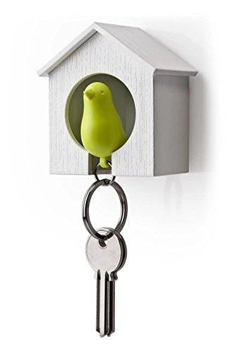 RICSUNG - Llavero de madera con forma de casita para pájaros + colgador + silbato, multicolor