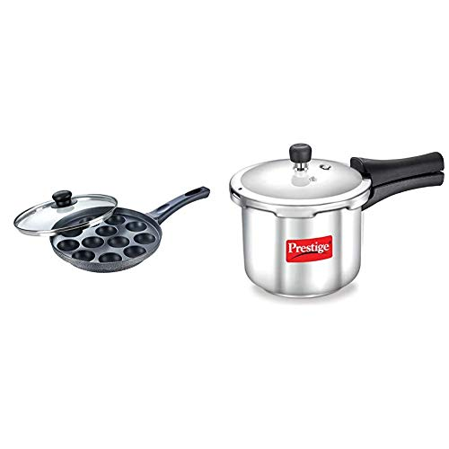 Prestige Omega Select Plus Non-Stick Paniyarakkal with Lid (240 mm, Black)- Gas Top Compatible only + Prestige Popular Stainless Steel Pressure Cooker, 2 litres, Silver