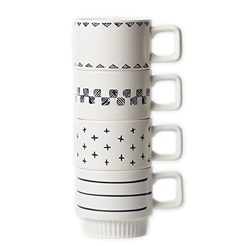 JMCRATE Stackable Coffee Mugs Set of 4, 11 OZ Ceramic Mug with Geometric Design, Large Coffee Mug with Handle for Men, Women, Home, Office Use-4 pack