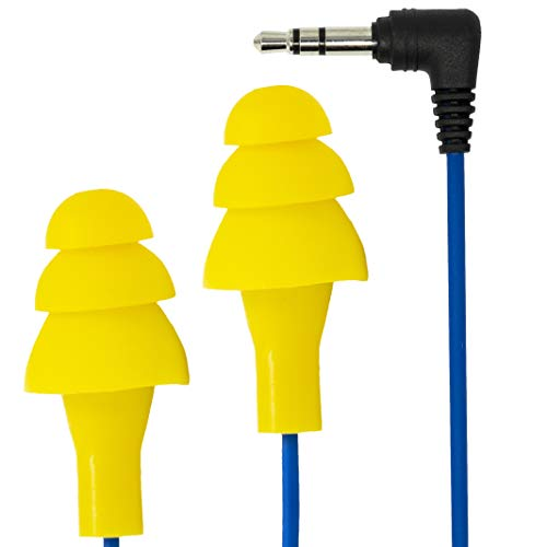 Plugfones Basic Earplug-Earbud Hybrid - Blue Cable/Yellow Plugs