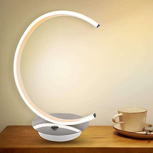 LED Desk Lamp,Minimalist C Shape Eye-Caring Creative Stylish Decorative Table Lamp for Bedroom, Living Room, Office, Dresser, Dorm & Reading