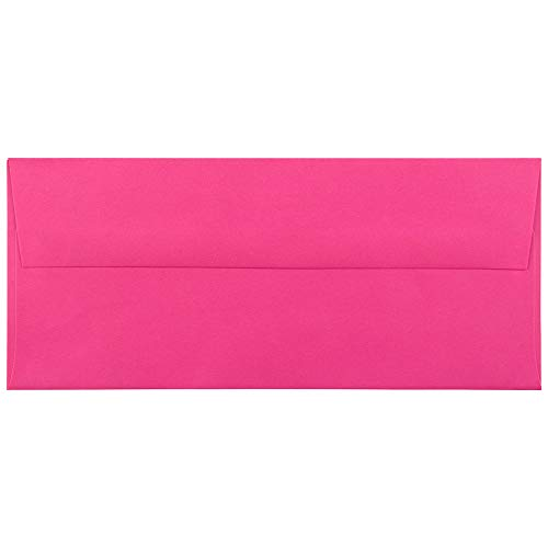 JAM PAPER #10 Business Colored Envelopes - 4 1/8 x 9 1/2 - Ultra Fuchsia Hot Pink - 50/Pack
