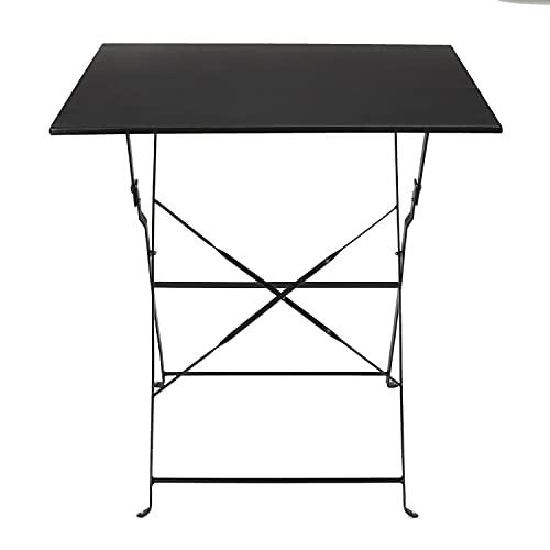 Tavolino pieghevole nero 70x70x71 cm, in acciaio, Nero