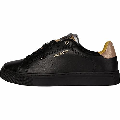 Trussardi 79A00703 - Zapatillas deportivas para mujer, de piel blanca, rosa o negra - Cómodas, ideales para todas las ocasiones, otoño-invierno 2021-2022., Black Gold, 36 EU