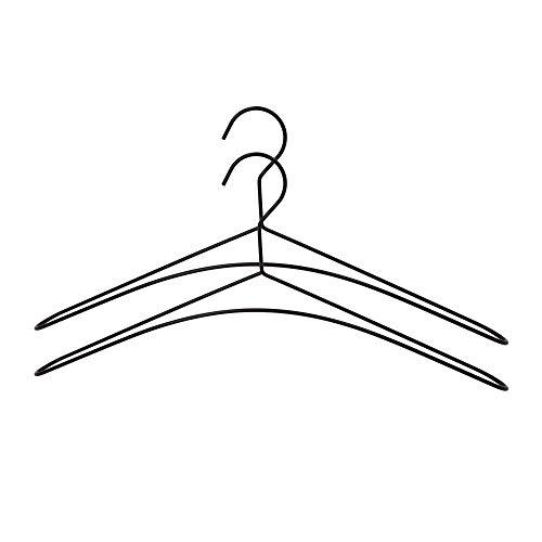 connox Collection Metall-Kleiderbügel, schwarz (2er-Set), stabile Bügel aus Edel-Stahl für Garderobe und Kleiderschrank zum Aufhängen von Hemden, Jacken, Mäntel, Blusen und Pullover
