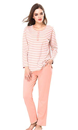 Atditama Women's Cotton Henley Neck Long Sleeve T-Shirt and Pants Pajama Nightgowns Suit Sets Stripes Print Pink 2XL - (fits Like US 10-12)