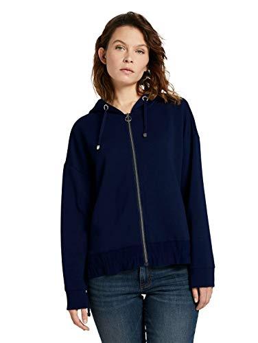 TOM TAILOR Damen Strick & Sweatshirts Lockere Sweatjacke mit Kapuze Sky Captain Blue,XL,10668,6000