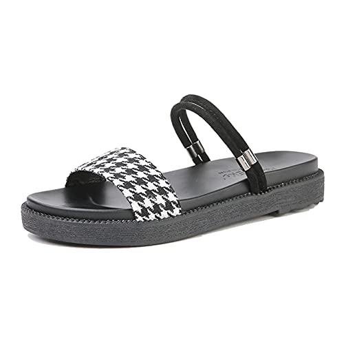 Sandalias de baño para mujer, zapatillas de piscina superligeras, dos prendas de verano, punta abierta, ropa de calle, elegantes zapatos de diapositivas con patrón a cuadros para mujer