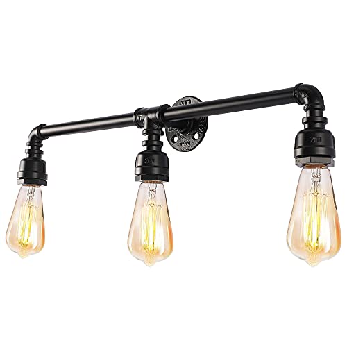 YIINO 3 Lights Bathroom Vanity Light Fixture, Vintage Industrial Steampunk Wall Light, Metal Water Pipe Style Wall Mounted Lamp for Farmhouse Bedroom Bar Cafe Stairs Headboard