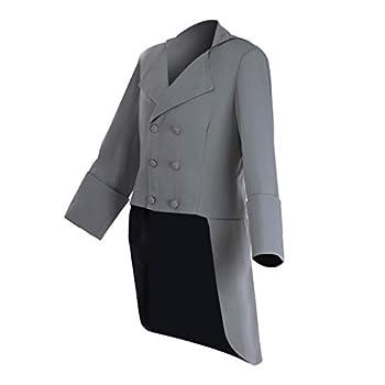 Fortunehouse Men s Double Breasted Tailcoat Historical Victorian Gentlemen Jacket  XXL  Grey