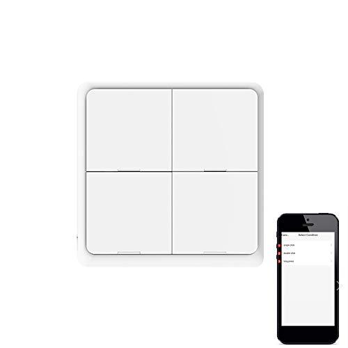 Interruptor de botón inalámbrico inteligente, Tuya ZigBee libre de pegatina, interruptor de escena de panel de 4 vías, funciona con pilas, interruptor de luz de pared inteligente para el hogar