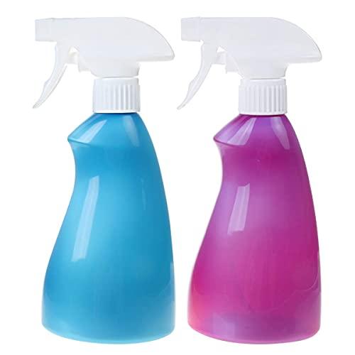 400 ml vattensprayflaskor för rengöring av trädgårdsskötsel utfodring frisör bärbar plast justerbart munstycke manuell triggerspruta flaska för blommor växter bil blå och lila, paket med 2
