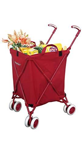 Versacart The Original Chariot de Courses Pliable et Utilitaire en Toile résistante à l'eau avec Housse, Double Roues Avant pivotantes, Pliage Compact, Transport jusqu'à 60 kg Rouge (Tango Red)