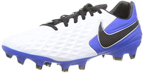 Nike Legend 8 Pro FG, Football Shoe Unisex Adulto, White/Black-Hyper Royal-Metallic Silver, 43 EU