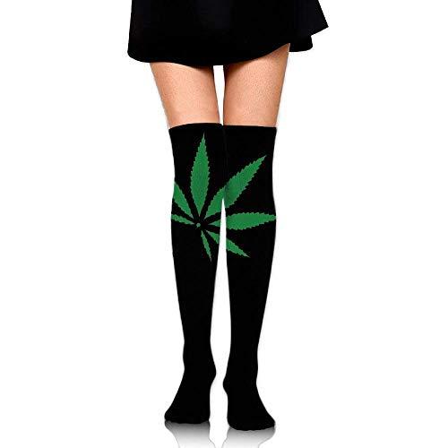 Damen Oberschenkelhohe Socken über dem Knie Tie Dye Weed Marihuana Grünes Blatt Extra Lange Tube Kleid Leggings Slim Look (Lang 50 cm Bequem 1412