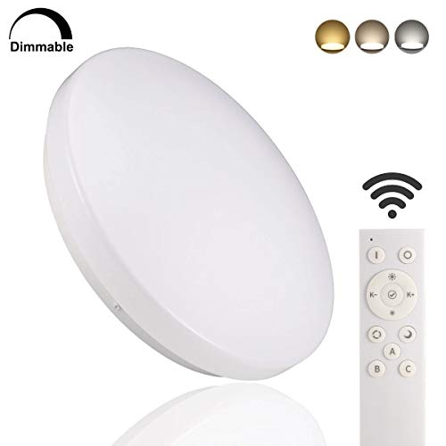 B-right LED Ceiling Light Remote Control, 13inch 15W (120W Equivalent), Square Surface Mount Lighting Fixture for Living Room, Bedroom, Dimmable & 3 Colors Available