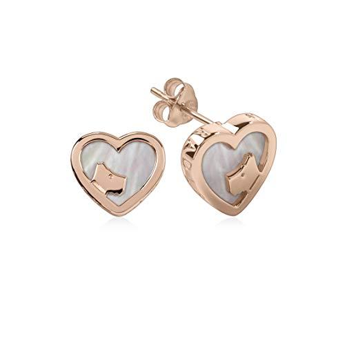 Radley Rose Gold And Pink Mop Heart Stud Earrings RYJ1066