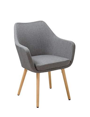 Esszimmerstuhl aus Stoff (Leinen) oder Kunstleder Farbauswahl Retro Design Armlehnstuhl mit Rückenlehne Holzbeine WY-8021D, Farbe:Grau, Material:Stoff