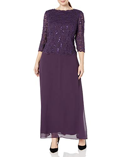 Alex Evenings Women's 18W Plus Size Tea-Length Lace Mock Dress, Long Deep Plum