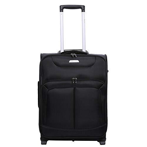 Aerolite Lightweight 2 Wheel 34L Carry On Hand Cabin Luggage Suitcase - Approved for Ryanair, easyJet, British Airways, Flybe and Many More (Black)