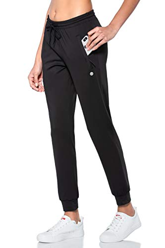G Gradual Women's Joggers Pants with Zipper Pockets Tapered Running Sweatpants for Women Lounge, Jogging (Black, Small)